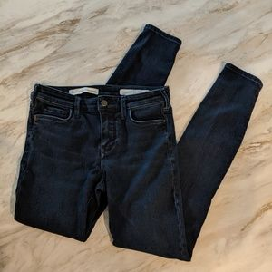 Pilcro & the letterpress skinny dark wash jeans 26